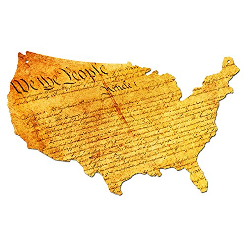 Plasma Cut Steel US Constitution Map Sign Metal Sign Home Decor