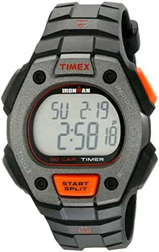 Timex Men's TW5K90900 Ironman Classic 30 Full-Size Black/Orange Resin Strap Watch
