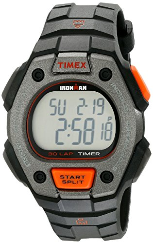 Timex Men's TW5K90900 Ironman Classic 30 Full-Size Black/Orange Resin Strap Watch (Resin Strap Black)