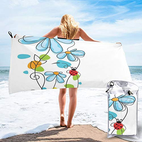 - K0k2to Fast Drying Beach Travel Camping Towel,Flowers and Oval Dome-Shaped Ladybugs Illustration Never Ending Love Story Luck Symbol,Quick Dry Lightweight Bath Towel