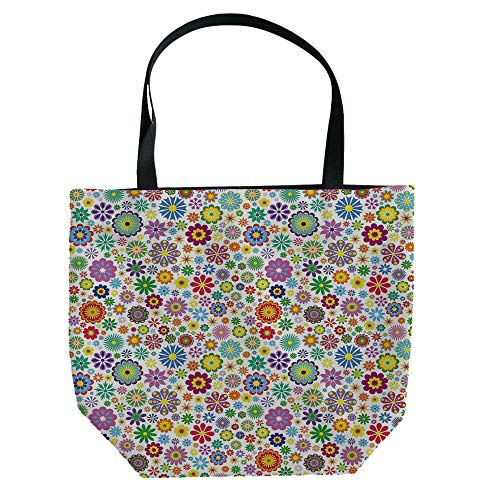 Handbag Canvas Shoulder Bag Modern Stylish,Floral,Cute Pastel Daisies and Leaves Blooming Retro Style Foliage Spring Color Palette Decorative,Multicolor,Personalized Customization.