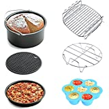 Air Fryer Accessories 6pcs for Gowise Phillips and Cozyna or More Brand, fit all 3.7QT 5.3QT 5.8QT with 7 Inch Diameter by KINDEN