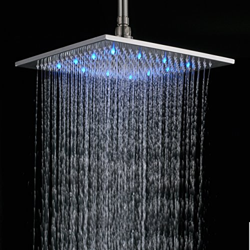 Rozin 16 Inch Brushed Nickel Brass Rain Shower Head LED Colors Top Sprayer