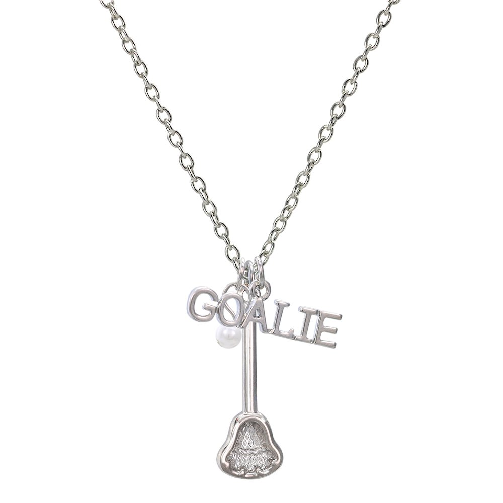 GIMMEDAT Customizable! Lacrosse Goalie Silver Lacrosse Necklace - Personalize With Player Number!