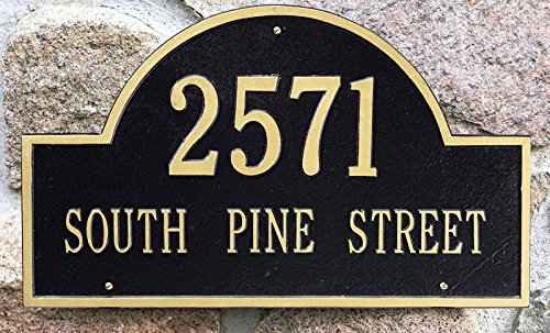 Large Mounting Plate - Personalized Cast Metal Address plaque displays your address and street name # 63159F1 Large Arch Custom House Number Sign