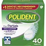 Polident Partials Antibacterial Denture Cleanser Effervescent Tablets, 40 count (Pack of 12)