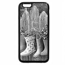 iPhone 6S Plus Case, iPhone 6 Plus Case (Black & White) - Colorful Rainboot Flower Pots