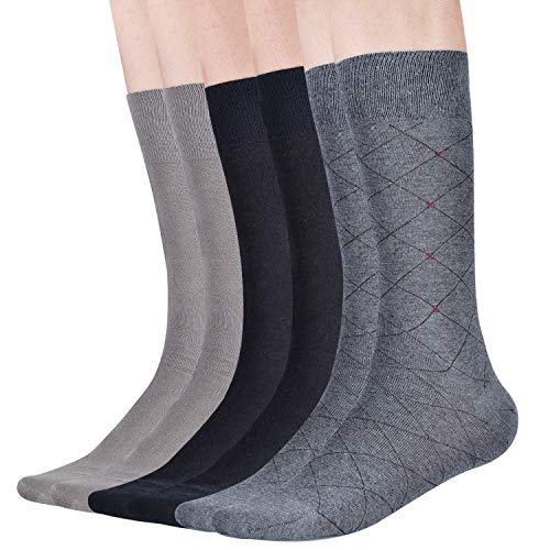 100% cotton Mens Casual Socks - Soft Breathable Dress Socks - for Business Office and Every Day Wearing - 6 Pairs Mixing