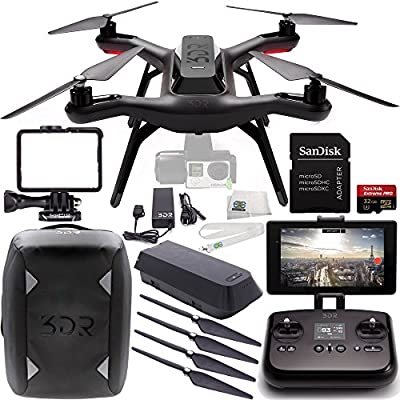3DR Solo Quadcopter (No Gimbal) with Manufacturer Accessories + 2 3DR Propeller Sets + 3DR Solo Backpack + SanDisk 32GB Extreme PRO microSDHC Memory Card + MORE