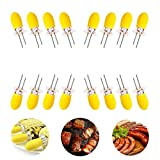 Stainless Steel Corn Holders with Silicone Handle, COVO-ART Non Slip Corn Forks, Set of 16 [8 Pairs], Perfect for Home Cooking and BBQ