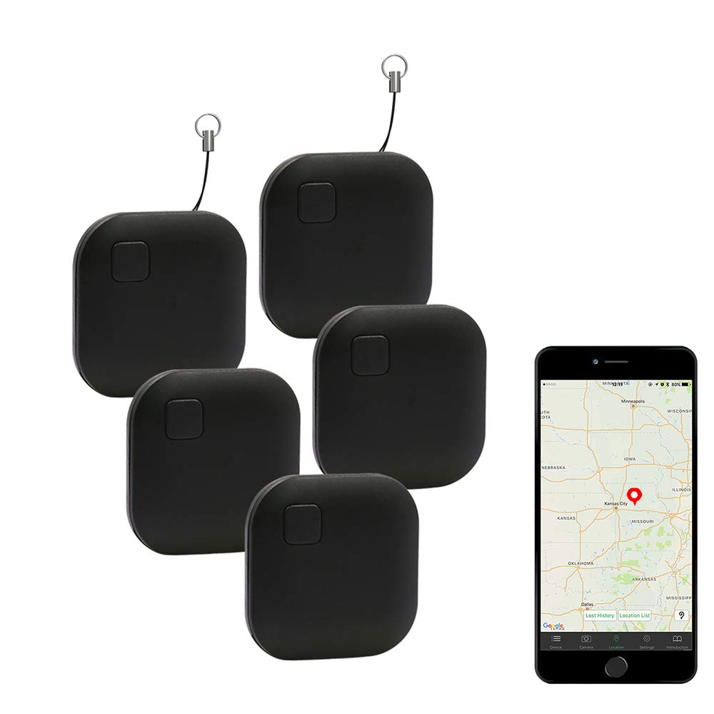 Eccbox Key Finder,Smart Bluetooth Tracker Anti Lost Locator Alarm Wireless Anti-Theft Sensor Remote Selfie Shutter Seeker Finder for Kids, Pet,Wallet, Keys, Car,Smart Phones (Square Black-5pcs)