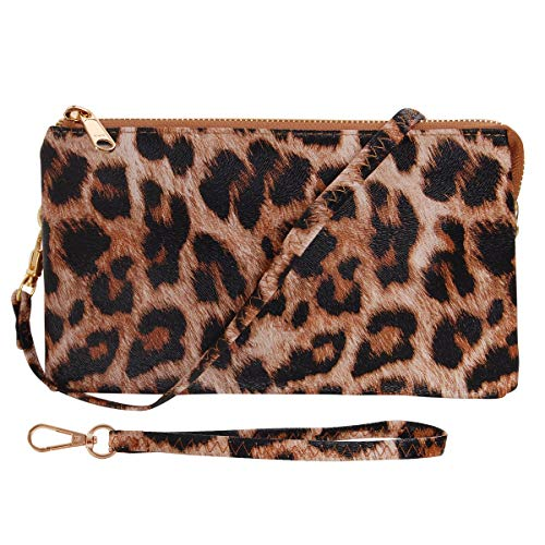 Humble Chic Vegan Leather Small Crossbody Bag or Wristlet Clutch Purse, Includes Adjustable Shoulder and Wrist Straps, Leopard, Brown, Black, Neutral (Cheetah Print House Phone)