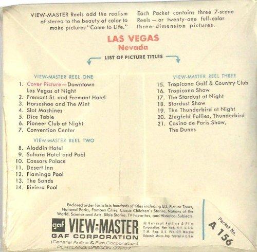 Vintage Las Vegas Nevada 3d View-Master 3 Reel Packet