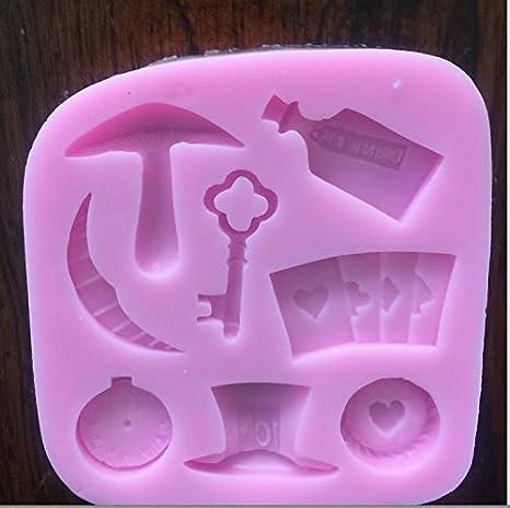 Mad Hatter y Alicia en el país de las maravillas molde de silicona Candy Chocolate Fondant molde: Amazon.es: Hogar