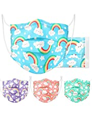 Kids' Tomorotec Disposable Face Mask 60 Pcs Individually Packaged 3-Layer Fabric Elastic Ear Loop Built-in Nose Strip Rainbow on Cloud Pattern 4 Assorted Colors