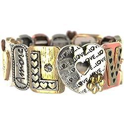 Love Tri-Tone Everlasting Bond Tile Stretch Bracelet