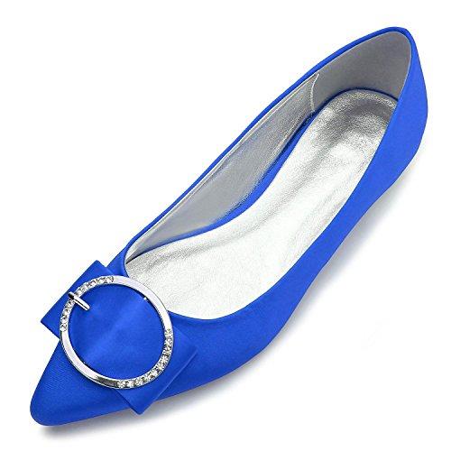 L@YC Zapatos de boda E-5047-27 de la boda Punta plana Bomba básica Elástico Satén Metal Cerrado Toe Custom Made Zapatos de gran tamaño Blue