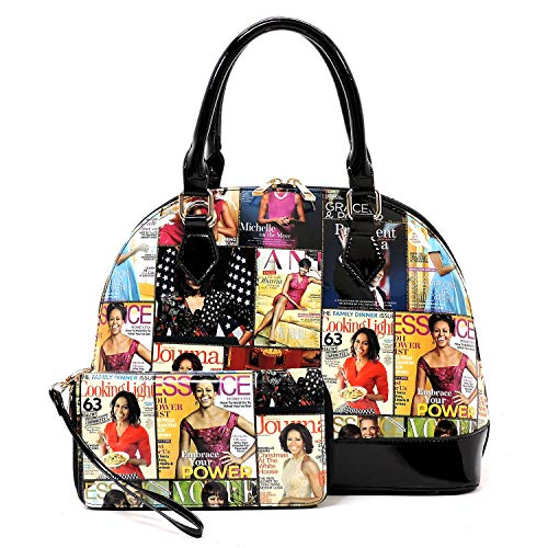 Glossy magazine cover collage dome satchel bag purses bowling bag Michelle Obama bags with wallet set 2 in 1 (MULTI/BK)