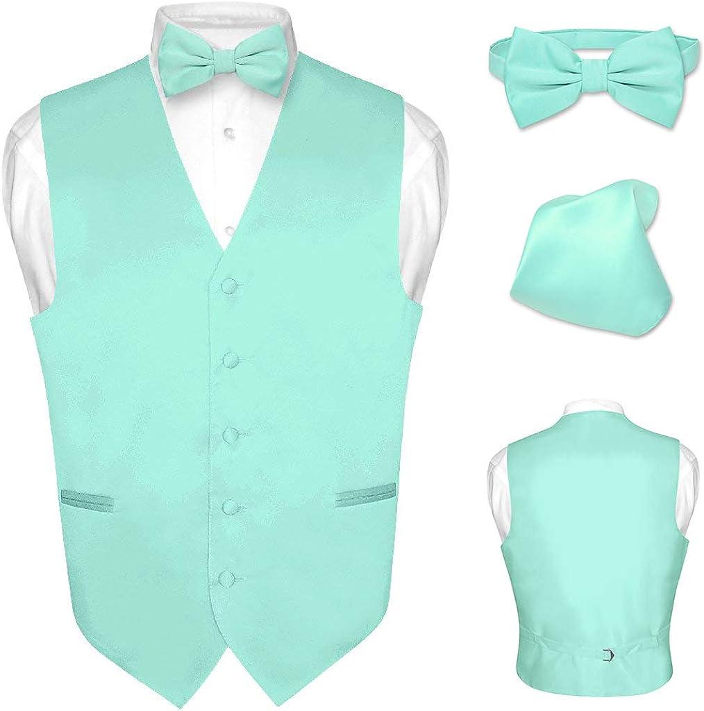 Men/'s Dress Vest BOWTie Hanky Solid BLACK Color Bow Tie Set for Suit or Tuxedo
