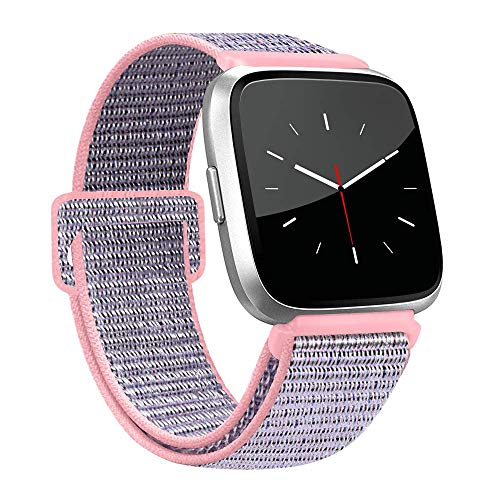AK for Fitbit Versa Bands, Soft Fabric Replacement Wristband Sports Strap with Fastener Adjustable Velcro Closure for Fitbit Versa Women Men (Pink Sand, 5.5 - 9.4)