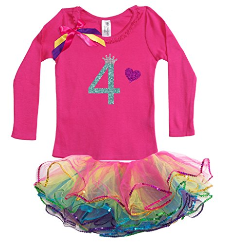Bubblegum Divas Little Girls' 4th Birthday Princess Shirt Rainbow Tutu Outfit 4 (Disco Themed Clothes)