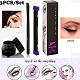 eyeliner stamp set, Facpoet timbro eyeliner wing waterproof con eyeliner liquido& pennello riutilizzabile facile da truccare professionale