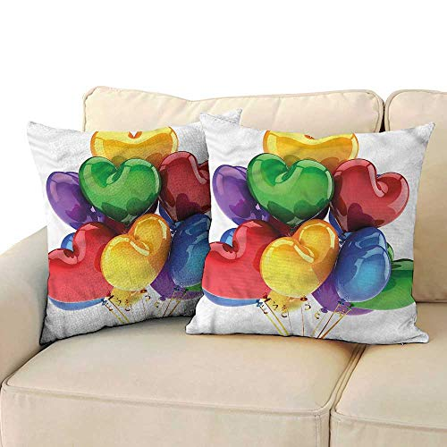 RuppertTextile Birthday Polyester Pillowcase Party Balloons Soft and Durable W14 x L14