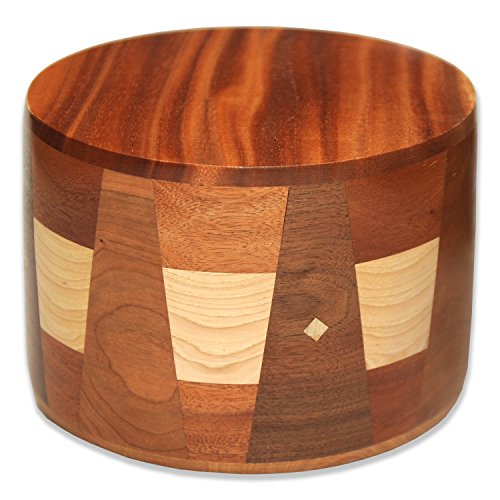 Handmade Round Wooden Cremation Urn in African Mahogany, Walnut, Maple Wood with Inlays