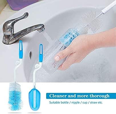 Wandefol Nursing Bottle Brush Kit Baby Bottle Wash Kit Water Bottle Cleaner Blue 7pcs