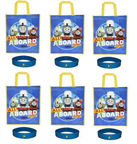 6 Pack Thomas & Friends Large Reusable Tote Bags Party Favor Goodie Treat Bags 6 Bracelets]()