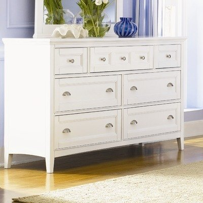 (Magnussen Furniture Dresser & Mirror Set in White - Kentwood)