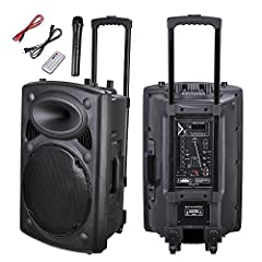You're viewing brand new Portable Active PA Speaker w/ Wireless Microphone. It is a portable sound system that includes speaker amplifier, audio input, and wireless remote and Bluetooth technology all in one. Now you can enjoy music for activ...
