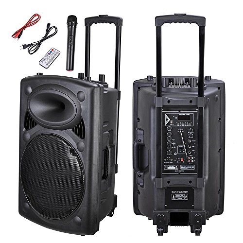 - AW 1500W Portable Active PA Speaker w/Wireless Microphone Guitar AMP Bluetooth USB SD LCD FM Party Show