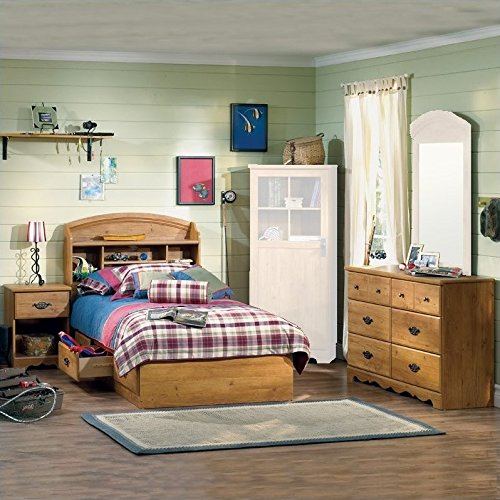 South Shore Prairie Kids Twin Wood Bookcase Bed 4 Piece Bedroom Set in Country Pine