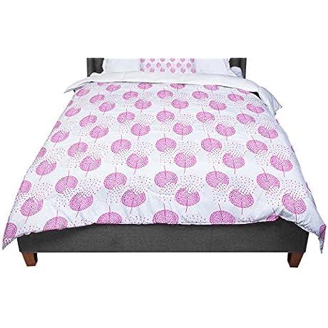 KESS InHouse Apple Kaur Designs Wild Dandelions Pink Gray Twin Comforter 68 X 88