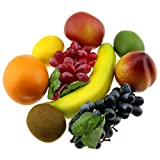 Gresorth Artificial Mixed Fruit Set Fake Apple Banana Orange Lemon Peach Grape Kiwi Christmas Party Decoration - 9 Fruits