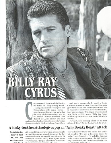 Billy Ray Cyrus original 1pg 8x10 clipping magazine photo #S0971