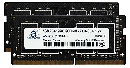 Adamanta 16GB (2x8GB) Laptop Memory Upgrade for Dell Alienware, Inspiron, Latitude, Optiplex, Precision, Vostro, XPS DDR4 2400Mhz PC4-19200 SODIMM 2Rx16 CL17 1.2v RAM - Sodimm Memory Alienware