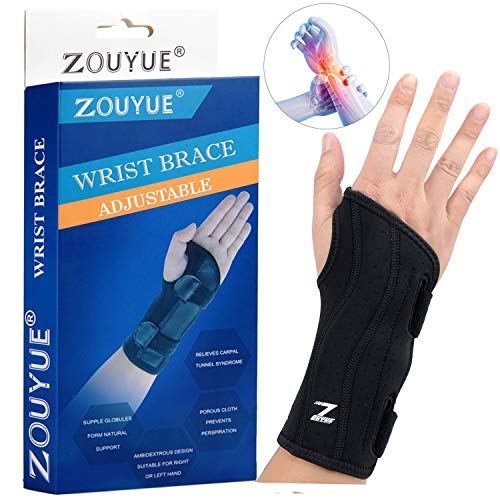 Carpal Tunnel Wrist Brace, Night Sleep Wrist Support, Removable Metal Wrist Splint for Men, Women, Tendinitis, Bowling, Sports Injuries Pain Relief - Right