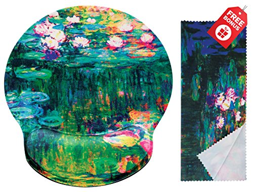 (Claude Monet Water Lilies VI Ergonomic Design Mouse Pad with Wrist Rest Hand Support. Round Large Mousing Area. Matching Microfiber Cleaning Cloth for Glasses & Screens. Great for Gaming & Work )