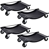 GHP Pack of 4 Black Steel 1000Lbs Capacity Car Wheel Dollies with Swivel Casters