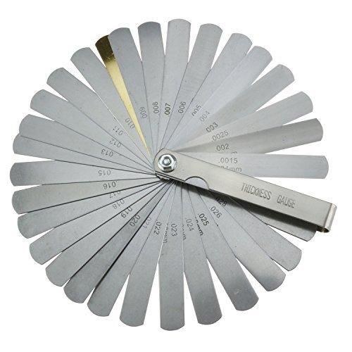 Medidor de espesores 32 cuchillas Medidores de espesores mé tricos e imperiales de acero inoxidable para medir el ancho de la brecha Espesor Imperial Tamañ o mé trico Paor