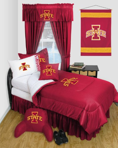 Iowa State Queen Bedskirt - Iowa State Cyclones - Locker Room - 4 Pc QUEEN Comforter Set and One Matching Window Valance (Comforter, 2 Shams, 1 Bedskirt, 1 Matching Window Valance) SAVE BIG ON BUNDLING!