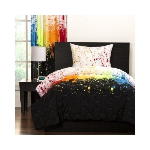 Reversible Teen Kids Crayola Colorful Cosmic Burst 3-piece Comforter Bedding Includes Custom Mouse Pad (Twin)