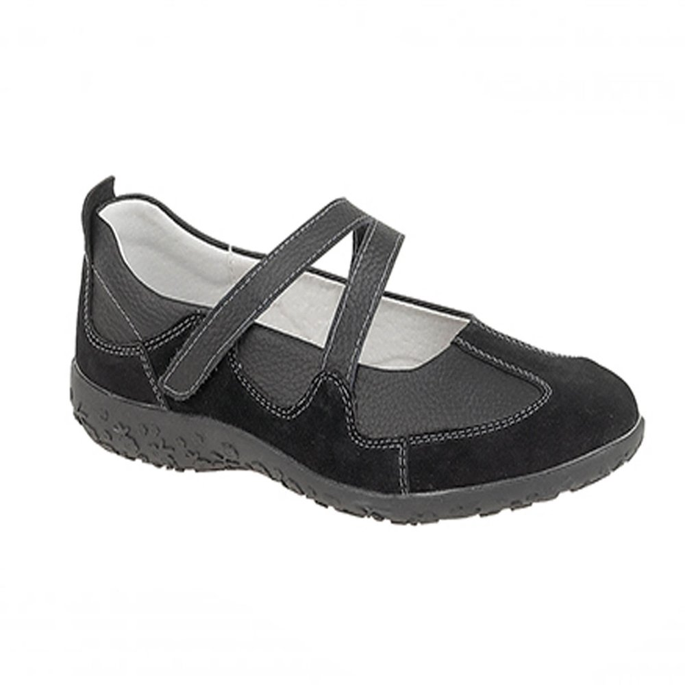 3e6dee9a2a0 Boulevard Womens Ladies Extra Wide EEE Fit Velcro Leather Casual Shoes Size  3-9 Black