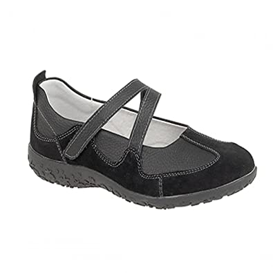 939c2effcca9 Boulevard Womens Ladies Extra Wide EEE Fit Velcro Leather Casual Shoes Size  3-9 BLACK