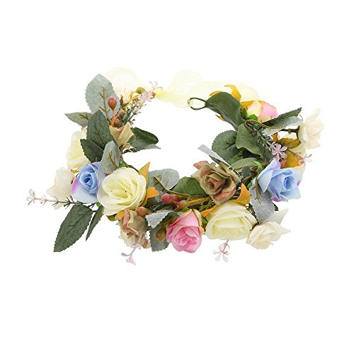 Vintage Nature Flower Reeds Big Leaves Crown Headband with Adjustable Ribbon