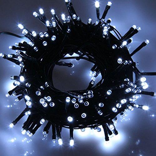 White, 0-5W : 12M Solar Powered 100 LED Fairy String Light O