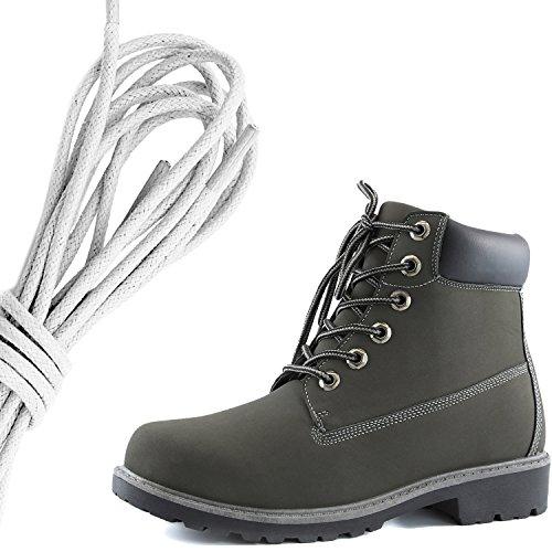 Zapato De Tobillo Con Cordones Para Mujer DailyZapatos Con Cordones De Trabajo, Botines De Punta Dura, Gris Marfil Pu