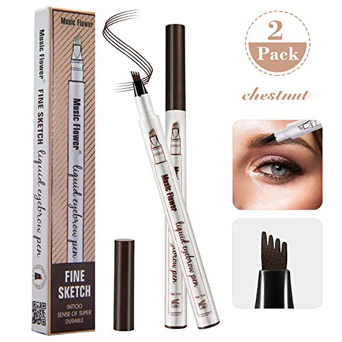 Durable Gel Ink Pen - Tattoo Eyebrow Pen 2 Pack, Waterproof Ink Gel Tint with Four Tips, Long Lasting Smudge-Proof Natural Hair-Like Defined Chestnut All Day (Chestnut)